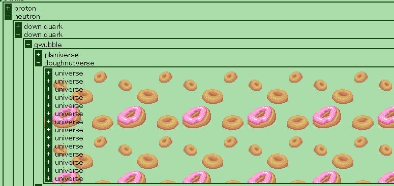 A Doughnutverse hidden inside a quark, with a matching Doughnut background